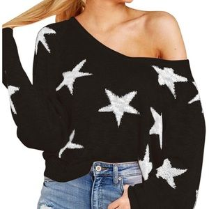 Sweaters - New Batwing Sleeve V-neck Raglan Sweater w/ Stars